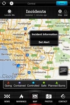 CFA Fireready application screen shot