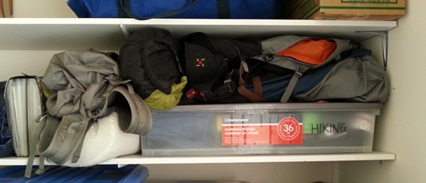 Hiking gear storage - after