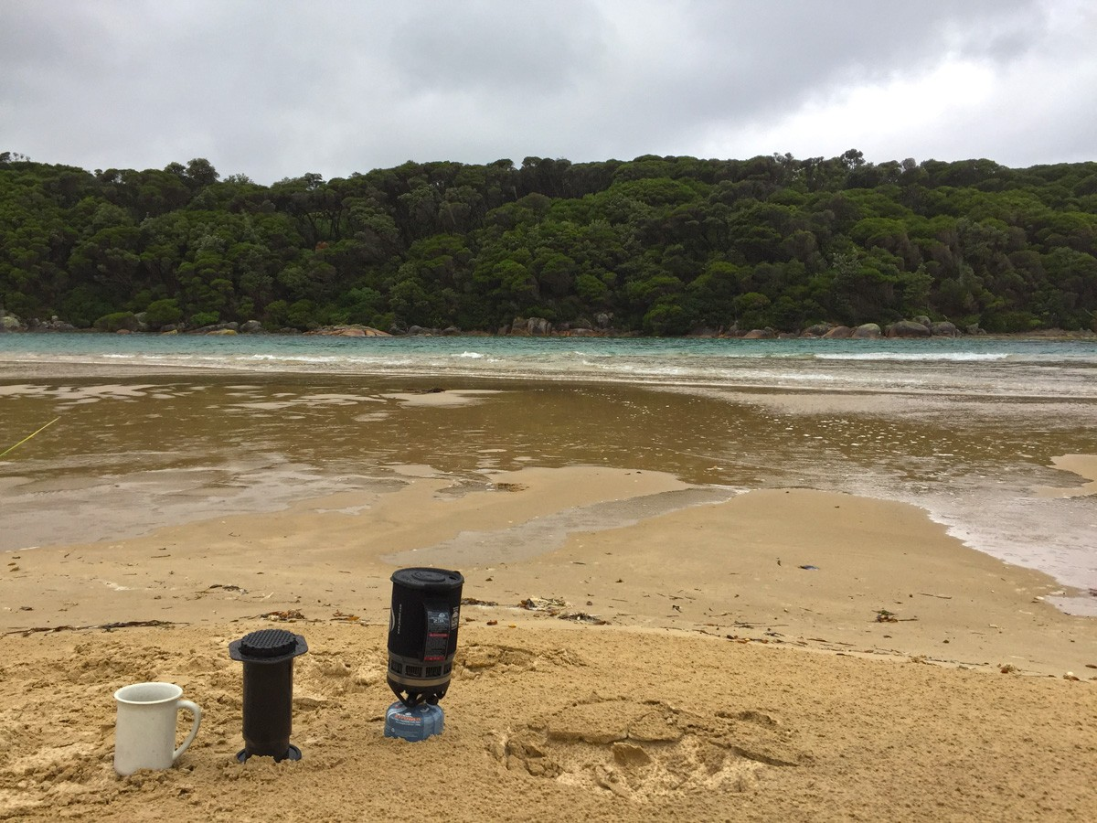 Brewing coffee in the Jetboil - Croajingolong National Park - Victoria